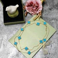 pingente de trevo de latão venda por atacado-Moda trevo de quatro folhas de ouro azul latão Vinte flores Pingente de Colar para as mulheres Amantes do presente do dia designer clássico marca de jóias