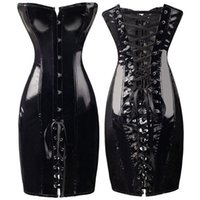 длинные сексуальные корсеты оптовых-Sexy Long PU Leather Corset Gothic Dress Shiny PVC Leather Boned Bustier Top Women Lace Clubwear Corselet Black Red