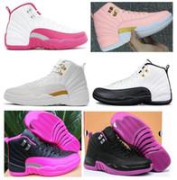 ingrosso girls pink shoes-Donne di alta qualità 12 12s GS Hyper Violet gioventù rosa Valentino scarpe da basket ragazze le scarpe da ginnastica Master Taxi Rush rosa con scatola