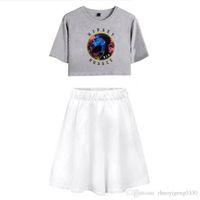 zwei stück orange rock großhandel-2019 Nipsey Hussle Rap Sommer Pop Frauen Casual Zweiteiler Sexy Kurzer Rock Und T-Shirts Kleidung 2019 Heißer Verkauf Kpops Sets