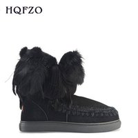 schaffellfederstiefel groihandel-mini Wolle Feder Quaste sneaker Frauenschneeknöchelaufladungen hohe Qualität Keil Schaffell Mädchen Stiefel DHL-freies Verschiffen