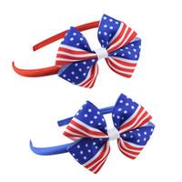 accesorios para el cabello de las mujeres diadema de plástico al por mayor-Bandera Americana Niñas Accesorios Para el Cabello Bowknot Diadema Niños Banda para el Cabello Lindo 2 Colores Día de la Independencia Tocado de Plástico Aro