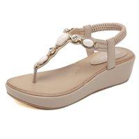 sandalias planas para mujer al por mayor-Zapatos de verano bohemio dulce para mujer Rhinestone botón tipo cuña sandalias planas de alta calidad Casual Flats Plus Size 35-42 Sandalias