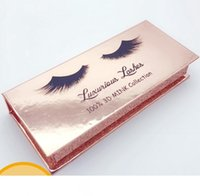 Wholesale cosmetic paper box packaging for sale - Group buy Rectangle False Eyelash Case Gold Paper Mink False Eyelashes Box Cosmetics empty Eye Lashes Package Boxes GGA2234