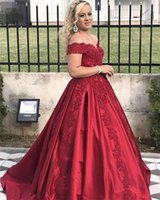 Wholesale gown dressess resale online - New Quinceanera Dresses Sexy Sweet Sweetheart lace A line Long Off Shoulder Prom Dressess Appliques Elegant Evening Gowns Custom Made