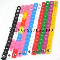 encantos de sapato pulseiras de silicone braceletes venda por atacado-50 pcs 21CM Pulseiras de Silicone Pulseiras Fit Croc Sapato Encantos Crianças presentes