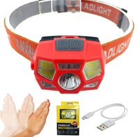 Wholesale running headlamp led resale online - Waterproof Camping Headlight Motion Sensor Mini LED Headlamp Head Lamp Torch USB Rechargeable IR Running Headlight