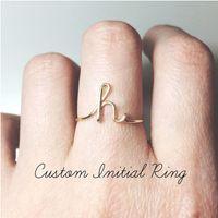 jóia do anel z venda por atacado-Dainty Anel Inicial De A a Z Carta Midi Anéis Personalizados para Mulheres Homens Jóias Empilhamento de Ouro Rosa Iniciais Iniciais Anel Personalizado