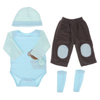bebek oğlan maymun setleri toptan satış-Sevimli Maymun Tulum Şapka Pantolon Çorap 22-23 inç Reborn Erkek Bebek Bebek için giyinmek Aksesuar Mavi Set