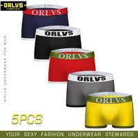 calcinha para homens gay venda por atacado-ORLVS 5 PÇS / LOTE Homens Sexy Underwear Men Boxer Shorts Cuecas de Algodão Gay Cuecas Gay Calcinhas Respirável Confortável Boxers