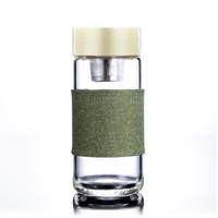 teebecher glasbecher großhandel-Glaswasserflasche Mit Teesieb Hitzebeständige Europäische Art 400 ML Glasfilter Reise Auto Büro Trinkflaschen Teetassen