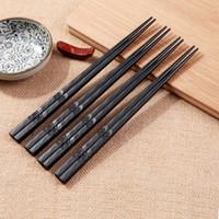 ingrosso set di chopstick cinese-Visual Touch 1 paio di bacchette giapponesi resistenti antiscivolo in lega Sushi Chop Sticks Set bacchette cinesi regalo
