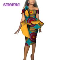 afrikanisches wachs für hochzeit großhandel-Mode frauen afrikanische kleider für weihnachten party hochzeit afrika wachsdruck bazin riche sexy slash neck bodycon midi dress wy3689