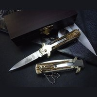 Wholesale hubertus knives resale online - Hubertus Solincen inch inch D2 blade HRC61 classic Antler handle single action pocket ITA knife auto knife camping gift knives for man