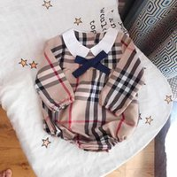 Wholesale kids diapers for sale - Group buy INS Infant Kids Plaid Romper Baby Girls Bows Tie Lapel Short Sleeve Jumpsuits Baby Boy Clothes Newborn Kids Cotton Diaper New Style