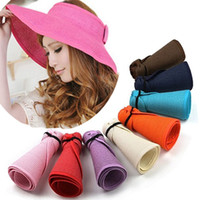 Wholesale adult straw floppy hats for sale - Women Large Floppy Visor Hat Foldable Straw Boho Wide Brim Hat Summer Beach bowknot Lady Sunscreen Caps Roll Up AAA2005