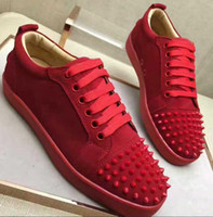 los zapatos claveteados liberan el envío al por mayor-Envío gratis New Mens Red Spiked Toe Leopard Real Horsehair Red Low Top Sneakers, diseñador Lovers Causal Flats Skateboarding Shoes 3kj