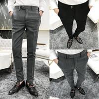 terno animal coreano venda por atacado-Outono e inverno terno versão coreana da tendência masculina de calças de trabalho para homens jovens calças de Slim bonito dos homens