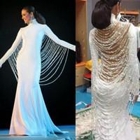 encubrimientos formales al por mayor-Oriente Medio, blanco, vestidos de baile increíbles cadenas de abalorios cubiertas de espalda vestidos de noche de manga larga de las mujeres de sirena vestido formal