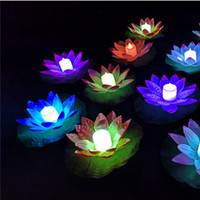 Wholesale floating water lotus for sale - Group buy LED Lotus Lamp Colorful Changed Floating Water Pool Wishing Light Lantern Flameless Candle Lotus Flower Lamps For Party Decoration BC BH2926