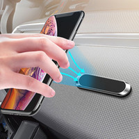 Mini Strip Shape Magnetic Car Phone Holder Stand for Smartphones 11 pro Max Wall Metal Magnet GPS Mount Dashboard