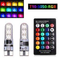 bombilla 12v 8w led al por mayor-2x T10 W5W Luces LED para automóviles Bombillas LED RGB 194 168 501 Luces de lectura de la lámpara estroboscópica con control remoto Blanco Rojo Ámbar 12 V