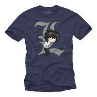 Wholesale anime death note resale online - Mens T Shirt Death L Blue Manga Anime Note Comic Gift Boys Men