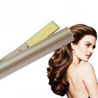 cheveux fer france achat en gros de-New Edition Pro Flat Iron 2 en 1 Bigoudi Lisseur Titane Doré avec Manchon US EU UK Plug