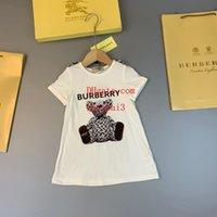 camisas de bebé patrones de animales al por mayor-Ropa para niños niñas ropa para bebés ropa para niños Camisetas con capucha Camisetas de algodón Telas de osos Patrón de marca Camiseta casual de manga corta para bebés