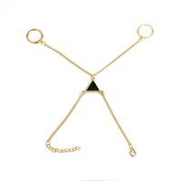 ingrosso schiavi d'oro-Punk Gold Triangle Chain Bracciale Bangle Jewelry For Women Girl Bohemian Beads Anello schiavo del braccialetto dito Pulseiras Shellhard