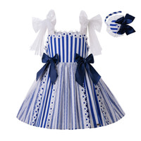 Wholesale girls dresses resale online - Pettigirl Newest Y Summer Deep Blue Cotton Stripe Princess Baby Girl Dress With Headband And Bows G DMGD203 C152