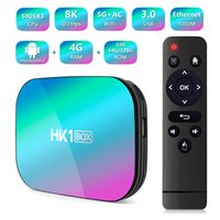 dört çekirdekli bluetooth toptan satış-HK1 kutusu Android 9.0 TV Amlogic S905X3 Quad Core 4 GB 128 GB Akıllı 8 K Streaming Media Player çift Wifi Bluetooth 4g32g Android9. 0