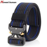 Wholesale belt man plug resale online - High Quality Nylon Tactical Belt Outdoor Army Adjustable Metal Plug Buckle Waistband Men Women Heavy Duty Webbing Belts