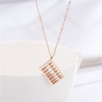 Wholesale white china rose pendant resale online - Abacus Pendant Necklace Rose Gold Titanium Steel Women Clavicle Necklaces Luxury Jewelry Lucky Knowledge Gift
