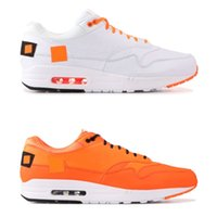 Wholesale women brand low shoes online - Brand New Mens Designer Shoes OG Men Women Running Shoes Orange White Cushion Sports Sneakers Size