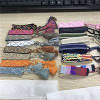 schnüren sich armband großhandel-Hot Brand Modeschmuck Für Frauen Baumwolle DIORLetter Unterschrift Stickerei Armband Woven Bangle Quaste Lace-up Armband mit original box