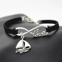 Wholesale sail bracelet resale online - New Lucky Gifts Vintage Silver Sailing Ship Sail Boat Charm Amulet Infinity Love Black Leather Rope Bracelets for Women Men Casual Jewelry