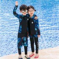 volles schwimmkostüm großhandel-Mode 2018 Langarm Ganzkörper UV Badeanzug Kostüm für Kinder Qualität Badeanzug für Mädchen Kinder 2019 Strand Schwimmen tragen