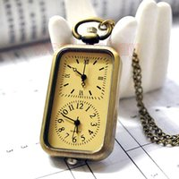 klasik tasarım kuvarslı saat toptan satış-Vintage Kuvars Cebi Çift Çift Zaman Dilimi Tasarım Cep Saatler foe Erkekler Kolye Cebi Hediye