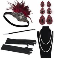perlas de disfraces al por mayor-1920 mujeres de la vendimia GATSBY vendas de plumas Flapper Costume Holder Titular de cigarrillos collar de perlas conjunto de guantes