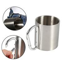 tazas de metal camp al por mayor-Tazas de acampar de metal de acero inoxidable que viajan al aire libre taza de pared doble con mosquetón gancho mango taza de café taza de té