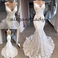 Wholesale white wedding dress black veil resale online - Full Lace Backless Mermaid Wedding Dresses Modest Sexy Spaghetti Sweep Train Applique Trumpet Arabic beach Bridal Gowns Dress veil