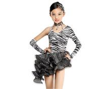 saias de dança zebra venda por atacado-Nova sexy zebra latina vestido de dança de salão crianças meninas dancewear saias desiguais salsa latina palco roupas de dança traje crianças