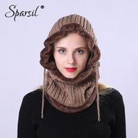 Wholesale knitted ear warmer hat for sale - Group buy Sparsil Unisex Winter Wool Knit Hooded Collar Removeable Elastic Hat Men Women Warm Thick Neck Wrap Ear Protector Drawstring Cap
