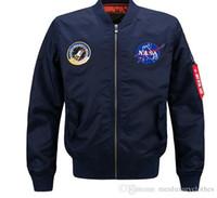 büyük erkek kış ceketleri ceketleri toptan satış-NASA Mens Tasarımcı MA1 Bombacı Ceketler Kış Sıcak Kalın Palto Artı Boyutu 4XL 5XL Büyük Ceket