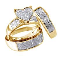 anillos de oro promesa parejas conjunto al por mayor-Nuevos anillos Pareja nupcial blanco del anillo de bodas determinada de la manera joyería llenada oro Promise CZ anillos de compromiso de piedra para las mujeres los hombres