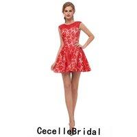 0540e0a1cf3aa Basit Kırmızı Dantel A-line Kısa Kokteyl Parti Elbise Jewel Kolsuz Gençler  Gayri Sevimli Kısa Balo Elbise Akşam elbise Ucuz Real Resimleri