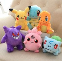 Wholesale nano dolls resale online - Pikachu Doll Yoy Bulbasaur Piplup Charmander Mew Squirtle Plush Stuffed Pendant Toy With Hook Pikachu Stuffed Key Ring