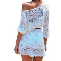 couvrir la robe de fleur achat en gros de-2019 nouvelle robe sexy en crochet à fleurs blouse de plage cache-robe évasée en tricot de natation d'été BIkini par-dessus une robe solide