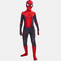 hombre zentai al por mayor-2019 Kids Spider Man Lejos de casa Peter Parker Cosplay Zentai Spiderman Superhero Body Traje Monos C11